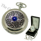 HALF HUNTER QUARTZ POCKET WATCH AEW Blue Celtic Fine Quality Mens Gift NEW