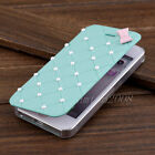 New Luxury Cute 3D Bow Pearl PU Leather Flip Hard Case Cover for iPhone 5 5S 5G