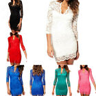 Sexy Women V-Neck Pencil Mini Slim Lace Evening Cocktail Club Party Dress S M L
