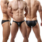 Fashion New Sexy Lingerie Men's Underwear Faux Stretchy Leather Boxer Briefs#C3