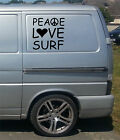 2 x PEACE LOVE SURF VINYL STICKER DECAL dub car bike van vw camper window wall