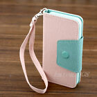 luxury leather cute  Wallet Pastel Phone Flip case cover skin for iPhone 4 4S 4G