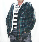 MENS HOODED FULL FLEECE LINED LUMBERJACK SHIRT JACKET WITH FULL ZIP, POCKETS Sml