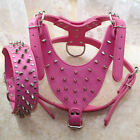 Hot Pink PU Leather Spikes Studded Dog Harness&Collar Set Pit Bull Mastiff Boxer