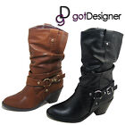 NEW Womens Shoes Mid Calf Heels Boots Black Tan Leather Casual Buckle Sz 5.5-10