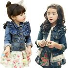 Girls Kids Jean Coat Jacket Outwear Denim Pearl Button Tulle Costume Cowboy 3-7Y