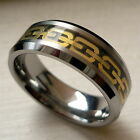 8MM MEN'S TUNGSTEN CARBIDE TWO TONE ANCHOR PATTERN COMFORT FIT BAND RING SZ 8-14