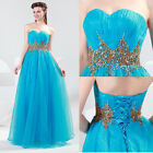 Wedding Bridesmaid Party Cocktail Prom Ball Gown Evening Beaded Long Bride Dress