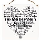 Personalised FAMILY Typography Wooden Plaque Memories Sign Keepsake Gift W43