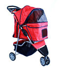 New Deluxe Folding 3 Wheel Pet Dog Cat Stroller Carrier w Cup Holder Tray