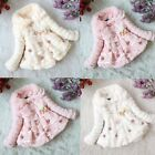 Girls Pearl Tops Coat Party Winter Warm Baby Jacket 1-5T Snowsuit Flower Outwear