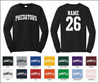 Predators Custom Personalized Name & Number Long Sleeve Jersey T-shirt