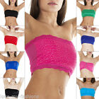 Womens Ladies Plain French Lace Stone Boob Tube Bandeau Crop Top Bra Size S M L