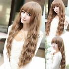 New Fashion Style Womens Girls Long Corn Wavy Curly Full Hair Wig Wigs Brown