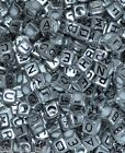 100pcs cube silver alphabet single letter beads mixed and single  A-Z 6mm