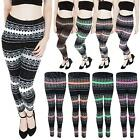 New Womens Ladies Knitted Nordic Fairisle Aztec Pattern Leggings Size 8 10 12 14