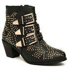 Western Cowboy Women's Punk Studded Buckle Wood Heel Hip Hop Dancer Ankle Boots