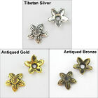 200Pcs Antiqued Silver Gold Bronze Tone Flower 5-Leaves End Bead Caps 8mm P839