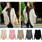 Hot Womens Knitted Cardigan Batwing Outwear Casual Loose Sweater Coat Wool Tops