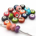 New Colorful Oblate Frosted Acrylic Charms European Bead Fit Bracelet 14mm