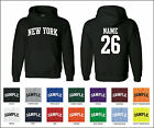 State of New York Custom Personalized Name & Number Jersey Hooded Sweatshirt