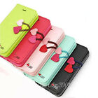 Cute Love Luxury Leather Magnetic Wallet ID Flip Stand Cover Case for iPhone 5C