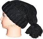 Womens Ladies Chunky Woolley Bobble Hat Knitted Hats