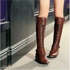 New Womens 100% Leather Lace Up Flat Buckle Punk Riding Boots Knee High Boots