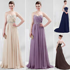Strapless Chiffon Wedding Gown Bridesmaids Bridal Evening Prom Party Maxi Dress