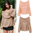 Women Inspired Chunky Fuzzy Oversized Off-Shoulder Cowl Neck Loose Sweater Top