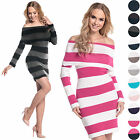 Glamour Empire Women's Long Sleeve Knit Stretch Striped Dress Bardot Jumper 887