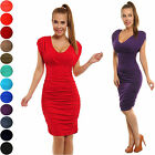 Sexy Stretchy V-Neck Ruched Sleeveless Jersey Dress Sizes UK 10-18 24h Disp  525