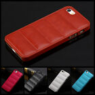 Brown Deluxe PU Leather Hard Case Cover For Apple iPhone 5 5G 5S
