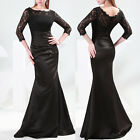 Luxury 3/4 Sleeve Black Lace Stain Long Formal Wedding Evening Party Prom Dress