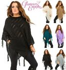 Ladies Fringes Knitted Crochet Round Neck Poncho Shawl Cape Jumper One Size 423