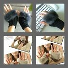 *New* women's Fur cropped Fingerless Gloves plush - can use keyboard & iPhone
