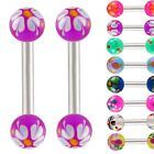 Barbell ear piercing bar 16g 1.2mm 1/4 6mm Eyebrow ear jewelry ring 2 pcs 9EED