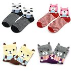 Korean Women's Short Socks Striped Cute Bear Cartoon Lady's Ankle Sock Hosiery