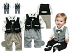 Baby Boy Babygrow- Christening Wedding Formal Clothes Suit (Black White Tuxedo)