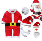 Baby Christmas Santa Outfit (Boy Clothes, Girl Dress Costume Hat Set) 0-18M NEW