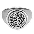 Sterling Silver Flip Ring World Tree of Life Ring Sun & Moon Rainbow Moonstone