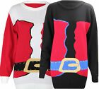 F41 WOMENS LADIES SANTA BUCKLE CHRISTMAS FESTIVE WINTER PLUS SIZE JUMPER