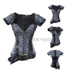 VINTAGE Gray Faux Leather Boned Steampunk Goth Overbust Corset Bolero & Belt