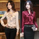 New Women Bow tie Neck Long Sleeve Casual OL Career Tops Shirt Blouses In XS - L