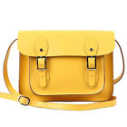 """Real Leather Satchel in Black, Brown, Red, Pink, Yellow, Lime Green (11"""" or 13"""")"""
