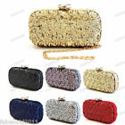 GOLD BLACK RED SILVER NAVY PEWTER Satin Mesh Sequins Hard Case Clutch Bag #0519