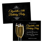 Personalised birthday party invitations CHAMPAGNE GLASSES PAIR FREE ENVELOPES &