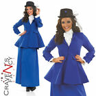 Ladies Blue Mary Poppins Victorian Lady Fancy Dress Costume All Sizes Edwardian