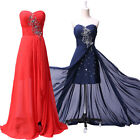 Beaded Long Split Evening Formal Bridesmaid Wedding Ball Gown Prom Party Dresses