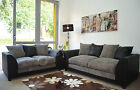 New Dylan Fabric Jumbo Cord Black&Grey Sofa in Corners and 3+2+1 Seaters
